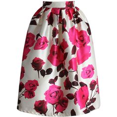 Chicwish Glam Rose Print A-line Midi Skirt ($42) ❤ liked on Polyvore featuring skirts, bottoms, midi skirt, chicwish, multi, pleated midi skirt, rose skirt, pleated a line skirt, mid-calf skirt and holiday skirts