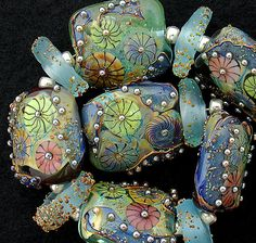 DSG Beads Handmade Organic Lampwork Glass Tabular Bead Set