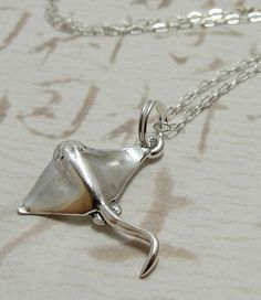 Stingray Necklace, Sterling Silver Stingray Charm on a Silver Cable Chain Silver Charm Bracelet, Silver Charms, Stingrays, Small Jewelry Box, Jewelry Accessories, Jewelry Ideas, Sterling Silver Chains, Jewlery, Bling