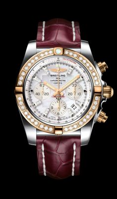 Chronomat 44 diamond diver's watch by Breitling - Steel and 18K rose gold case, pearl diamond dial, burgundy red croco strap.