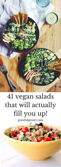 There's nothing worse than a vegetarian meal that leaves you feeling hungry. These 41 filling vegan salads are sure to satisfy and nourish! via @gratefulgrazer