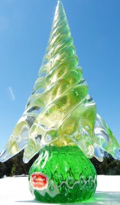 SPECTACULAR Vintage Green Gold GLASS CHRISTMAS TREE Figurine MURANO Tagged Large