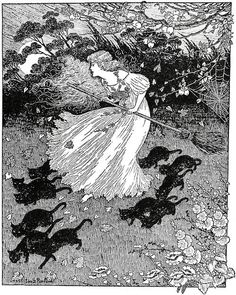 turnofthecentury:    liquidnight:wurzeltod:Antipodean Fantasy      'She saw a little witch dance past', by Ida Rentoul Outhwaite in 'The Lady of the Blue Beads' (1908)                (via TumbleOn)