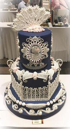 Royal icing wedding cake by Sveta - http://cakesdecor.com/cakes/290948-royal-icing-wedding-cake
