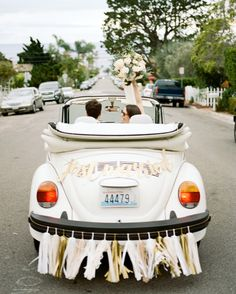 "Get ideas for ""just married"" signs, banners, and more, which work great for decorating your getaway car or reception space. Wedding Car Decorations, Garland Wedding, Wedding Getaway Car, Dream Wedding, Car Wedding, Perfect Wedding, Wedding Dresses, Wedding Games, Wedding Advice"
