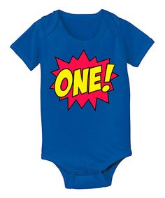 $9.99!!! Royal Blue 'One!' Comic Bodysuit - Infant #first #birthday #one #onesie #super #hero #party #sale #baby #comic #zulily #zulilyfinds