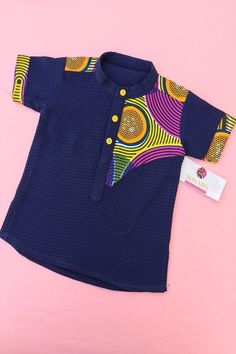 Boys blue Pique Shirt - Women's style: Patterns of sustainability Baby African Clothes, African Dresses For Kids, African Wear Dresses, Latest African Fashion Dresses, African Print Fashion, African Inspired Fashion, Teenager Outfits, Kids Outfits, Cute Kids Fashion