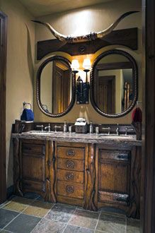 Western Bathroom Vanities You are in the right place about Western decor office Here we offer you the most beautiful pictures about the Western decor livingroom you are looking for. When you examine the Western Bathroom Vanities part of the picture yo Western Bathrooms, Rustic Bathrooms, Western Bathroom Decor, Cowboy Bathroom, Western Style, Western Décor, Looks Country, Rustic Bathroom Vanities, Wood Bathroom