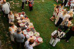 Iulia-Andrei-traditional romanian wedding_land of white deer Romanian Wedding, Picnic Blanket, Outdoor Blanket, Modern Traditional, Reception, Museum, Deer, Bride, Wedding Dresses