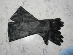 "VINTAGE UNUSED 1950's Lined Italian Black Kid Leather 14"" Elbow Length Gloves--Size 6 1/2--Auction #1412 by PrimaMona on Etsy"