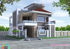 New decorative contemporary home (Kerala home design) Bungalow House Design, House Front Design, Modern House Design, Modern Farmhouse Plans, Modern House Plans, Modern Houses, 1500 Sq Ft House, Indian House Plans, Kerala House Design