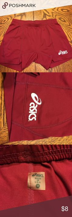 Asics Spandex Shorts Asics Woman's Spandex Shorts Maroon with White size medium. Very good condition I think my daughter wore them 1 time! All offers will considered. Asics Shorts