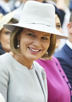 Queen Mathilde of Belgium and First Lady Agata Kornhauser-Duda visits Wolfgang Goethe college as part of official Royal visit in Poland on October 14, 2015 in Warsaw, Poland.