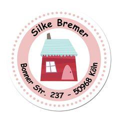24 individuelle Adressaufkleber - Motiv rotes Haus (Set 8) - Etiketten Sticker