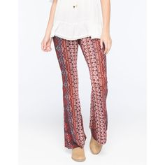 Patrons Of Peace Printed Knit Womens Flare Pants ($30) ❤ liked on Polyvore featuring pants, navy combo, navy blue stretch pants, white trousers, white pants, flared pants and white elastic waist pants