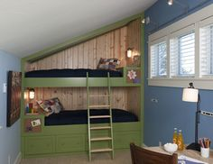 Here's a bunk bed idea for the boy's room. I like the wood paneling on the inside as well as the two reading lamps and built in night stands.