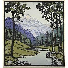 "FRANCES H. GEARHART  (1869 - 1958)Color linoleum block print, ""Serenity,"" Pasadena, CA, 1943Matted and framedOriginal paper label, pencil signed, titled, and datedImage: 10"" x 9""Auction Date: Sat, October 27, 11:00AMEstimate: $2,000 - $3,000"