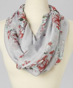 Love this Gray Floral Infinity Scarf on #zulily! #zulilyfinds