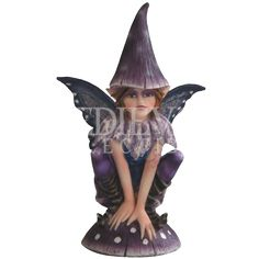 Purple Toadstool Fairy Statue - 05-91588 by Medieval Collectibles