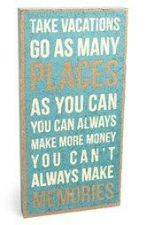 Primitives by Kathy 'Take Vacations' Burlap Box Sign