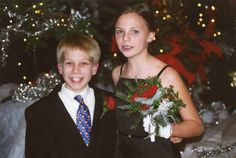 """When my daughter was in the 6th grade, her """"boyfriend,"""" who was a foot shorter than Anna-Lee, gave her a photo memory ornament with this photo inside. She hates it, and the boyfriend lasted only about a month! So, every year, I carefully hide the ornament on the tree. She then quietly takes it down and hides it. I find it, and put it back on the tree. And it goes like this throughout the season. - Stacy Sells"""