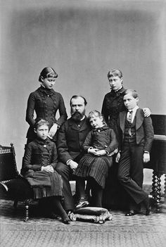1879, a year after the death of Princess Alice and two of his children, Grand Duke Louis IV of Hesse poses with his surviving children.