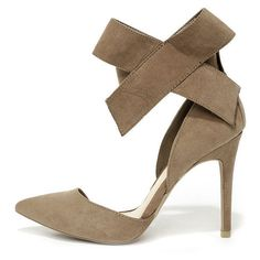 Keep a Bow Profile Taupe Suede Bow Heels ($28) ❤ liked on Polyvore featuring shoes, pumps, beige, suede shoes, pointy-toe pumps, beige pumps, ankle strap pumps and suede pointy toe pumps