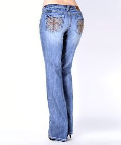 Take a look at the Light Stain Low-Rise Bootcut Jeans on #zulily today!