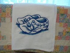 Delft Blue Dutch Wooden Shoes Flour Sack by DMYEmbroideryDesign, $5.50