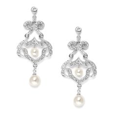 """Wear Mariell's 2 1/8"""" h x 1"""" w best belling bridal chandelier earrings boast Cubic Zirconia vintage scrolls with 6mm & 8mm ivory pearl accents. Our finely-crafted silver rhodium earrings bring the alluring look of genuine diamond jewelry to your wedding."""