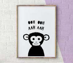Monkey Print Nursery Art, Baby Animal Print, Monochrome Nursery Printable, Monochrome Nursery Print, pdf a4 print, by YoYoStudio