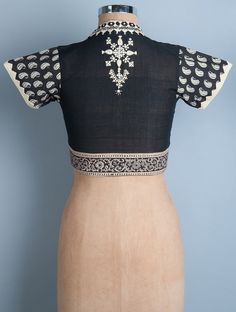 Buy Black Ivory Embroidered Kalamkari Printed Cotton Blouse by Svasa Apparel Tops & Dresses An Indian Potpourri Handwoven Pure Pieces with Traditional Embroideries Online at Jaypore.com