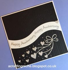 A Crafting Niche: Silver Anniversary Card using Apple Blossom emobossing folder, stamp & die