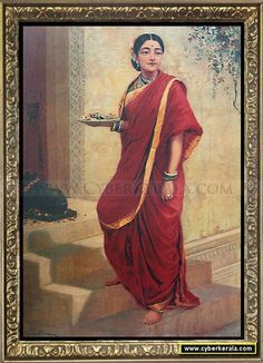 Oil on Canvas Painting by Raja Ravi Varma: Lady Going for Pooja Ravivarma Paintings, Indian Art Paintings, Pictures To Paint, Nature Pictures, God Pictures, Raja Ravi Varma, Indian Literature, Hindu Art, Woman Painting