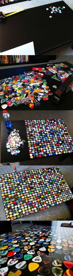 Funny pictures about Awesome guitar pick table. Oh, and cool pics about Awesome guitar pick table. Also, Awesome guitar pick table photos. Fun Crafts, Diy And Crafts, Ikea Coffee Table, Guitar Room, Guitar Art, Guitar Crafts, Ideias Diy, Geek Decor, Guitar Picks