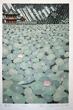 "Coyote Atelier illustration inspiration: ""Lotus Pond"" woodblock 2007 by Ray Morimura (b. Japan Illustration, Art Asiatique, Art Japonais, Japanese Painting, Japanese Prints, Japanese Art Modern, Traditional Japanese Art, Japanese Landscape, Japanese Design"