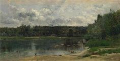 Oil Painting 'Charles-Franois Daubigny - River Scene With Ducks,1859' 24 x 47 inch / 61 x 118 cm , on High Definition HD canvas prints is for Gifts And Foyer, Game Room And Kids Room decor, rolled ** Click image for more details.