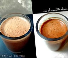 Raw chocolate shake and Cacao Peanut Butter Shake. Both vegan and light yet rich tasting and creamy! Chocolate Milkshake, Chocolate Shake, Raw Chocolate, Healthy Veg Recipes, Vegetarian Recipes, Healthy Milkshake, Peanut Butter Shake, Finding Vegan, Meat Substitutes