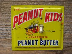 Vintage Peanut Kids Tin Switch Plate Made From Old Peanut Butter Tins SP-0061 #peanutkids #vintagetins