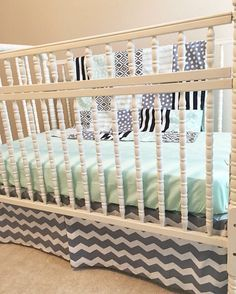 This listing is for a completely custom bumperless bedding set.  You choose your desired fabrics, colors, theme, etc! Picture is only an example of the type of set this listing describes.  This set will come with , (1) sheet, (1) regular straight or single pleat, 3 sided ruffled bed skirt, and (1) block blanket (approximately 36x52). For additional items or further customization please message me.   Fabrics: I have thousands of fabric choices available from both a normal supplier and custom…