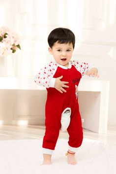 2015 New Cute Fashion Bear Red Spring Autumn Baby Clothing Romper Unisex Factory Direct Clothing Cheap Character Newborn Jumper Cotton Fall For 0-24M Baby Boy Baby Girl Clothes Brand Infant Garment Fashion Striped Orange Roupas Bebes Clothes Jumpsuit Romper China Brand