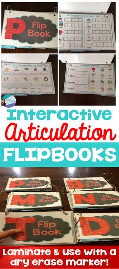 Work on early developing sounds with these flip books. /p,b,t,d,m,n/ included! Just laminate and use with a dry erase marker. Targets classroom skills too! $