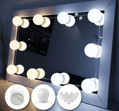 White Large Dressing Table with Mirror and LED Lights - Rare Epoch Lighted Vanity Mirror, Led Mirror, Mirror With Lights, Dressing Table Mirror, White Vanity Table, Daily Makeup Routine, Hollywood Mirror, Claude Glass, Home