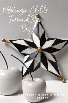 MacKenzie-Childs inspired home decor diy. Harlequin pattern star. Black and white elegant pattern diy. How to paint checkered pattern. Diy Crafts For Kids, Home Crafts, Diy Home Decor Projects, Decor Ideas, Diy Ideas, Craft Projects, Craft Ideas, Mackenzie Childs Inspired, Mckenzie And Childs