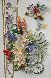 Neli Quilling Art: White poinsettia / 14.8 cm - 10.5 cm /