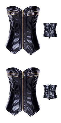 Corsets bustiers large size black faux leather lace up boned zipper front corset #bustier #corset #en #dentelle #bustier #corset #waist #cincher #bustier #corset #zara #corsés #y #bustiers