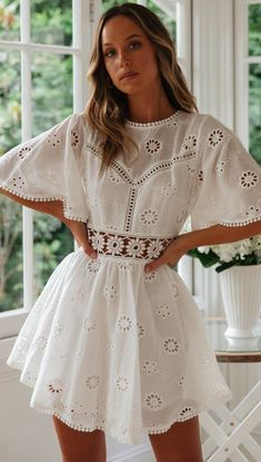 White Crochet Waist Flare Dress Details: - Crochet waist - Flared sleeves - Open back - Concealed zipper closure - Half lined Size and Fit: Size Length Bust S M L XL Cute Dresses, Casual Dresses, Short Dresses, Fashion Dresses, Dresses With Sleeves, Dresses Dresses, Dance Dresses, White Lace, White Dress
