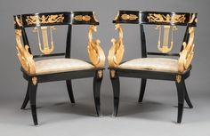 Furniture : French, A PAIR OF FRENCH EMPIRE-STYLE EBONIZED WOOD AND GILT BRONZE MOUNTEDKLISMOS-FORM ARM CHAIRS. 20th century. 30-1/2 x 24 x ...