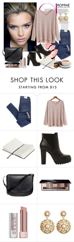 """""""Romwe Candy"""" by diva1 ❤ liked on Polyvore featuring Cheap Monday, Moleskine, Steve Madden, Mansur Gavriel, Bobbi Brown Cosmetics, Stila, Brooks Brothers, contest, Sweater and romwe"""