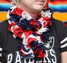 Patriotic Crochet Scarf Red White & Blue Scarf Ruffle by kidalia